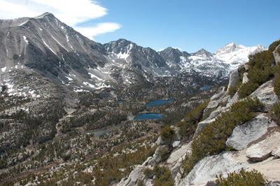 South to Little Lakes Valley from steep ledges.