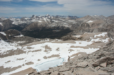 View northwest from the summit to Summit Lake, Pioneer Basin, and Hopkins Creek.