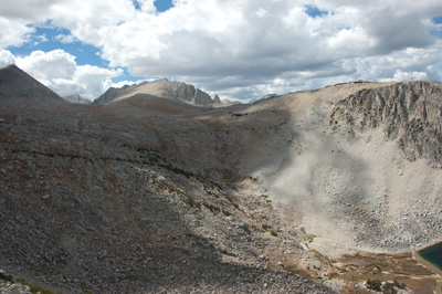 SSW to Mono Pass (left) from Half Moon Pass.