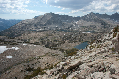 View northwest from the col into upper Pioneer Basin.