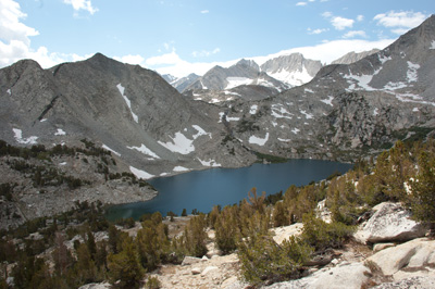 South to Ruby Lake from Mono Pass trail.