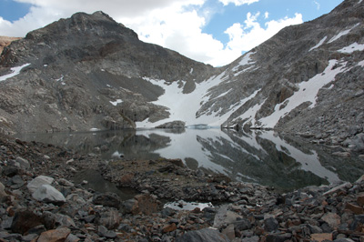 Grinnell Pass southeast from the outlet of Red and White Lake.