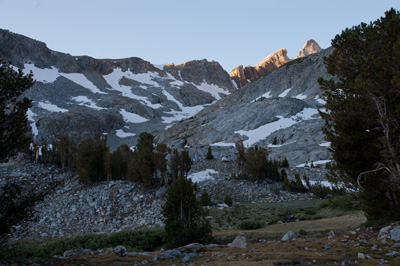 Early light on Hopkins Pass from Big McGee Lake.