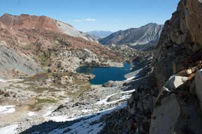 Northeast to Big McGee Lake and the Owens Valley from the top of the crux.
