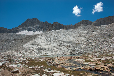 Upper First Recess Lake with Recess Peak and Pass behind.