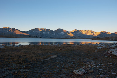 Sunrise on the Glacier Divide from Mesa Lake.