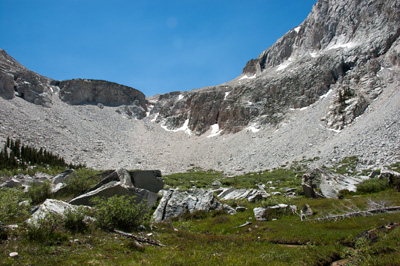 Headwall from the south end upper meadow of Second Recess.